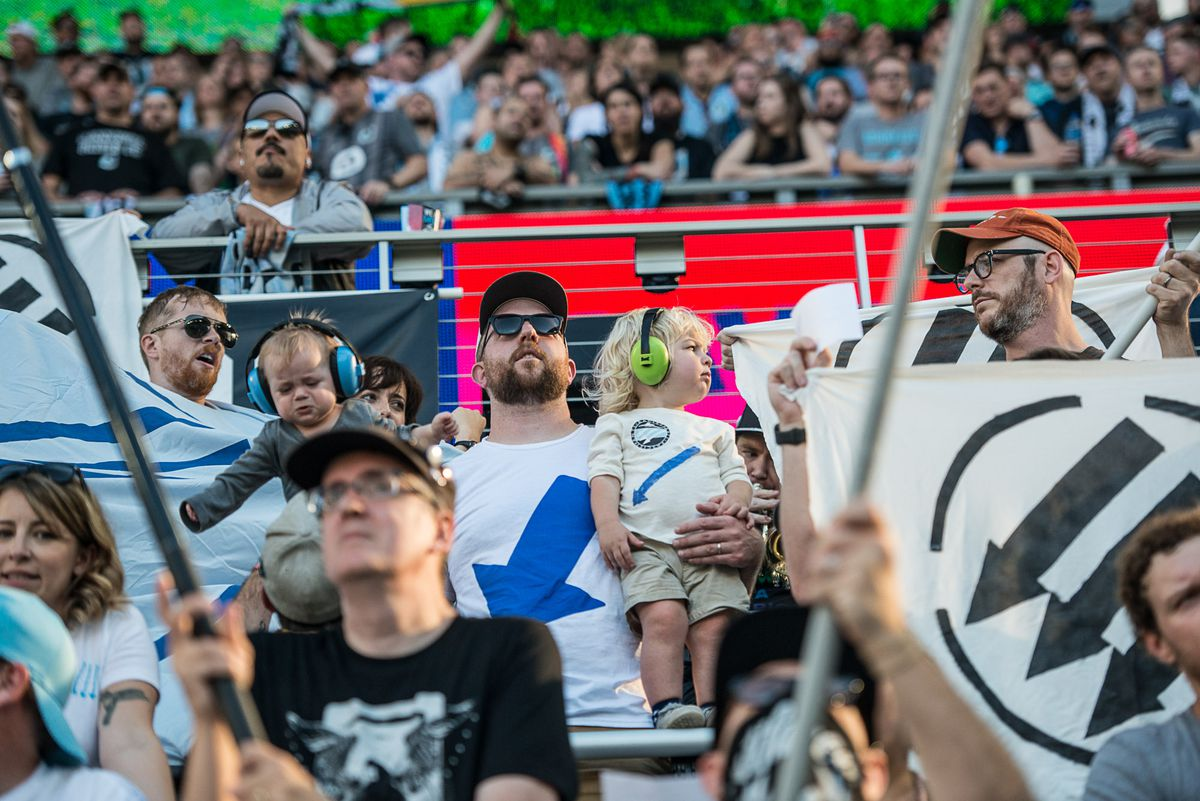 September 15, 2019 - Saint Paul, Minnesota, United States - Fans protest a ban on political displays during an MLS match between Minnesota United and Real Salt Lake at Allianz Field