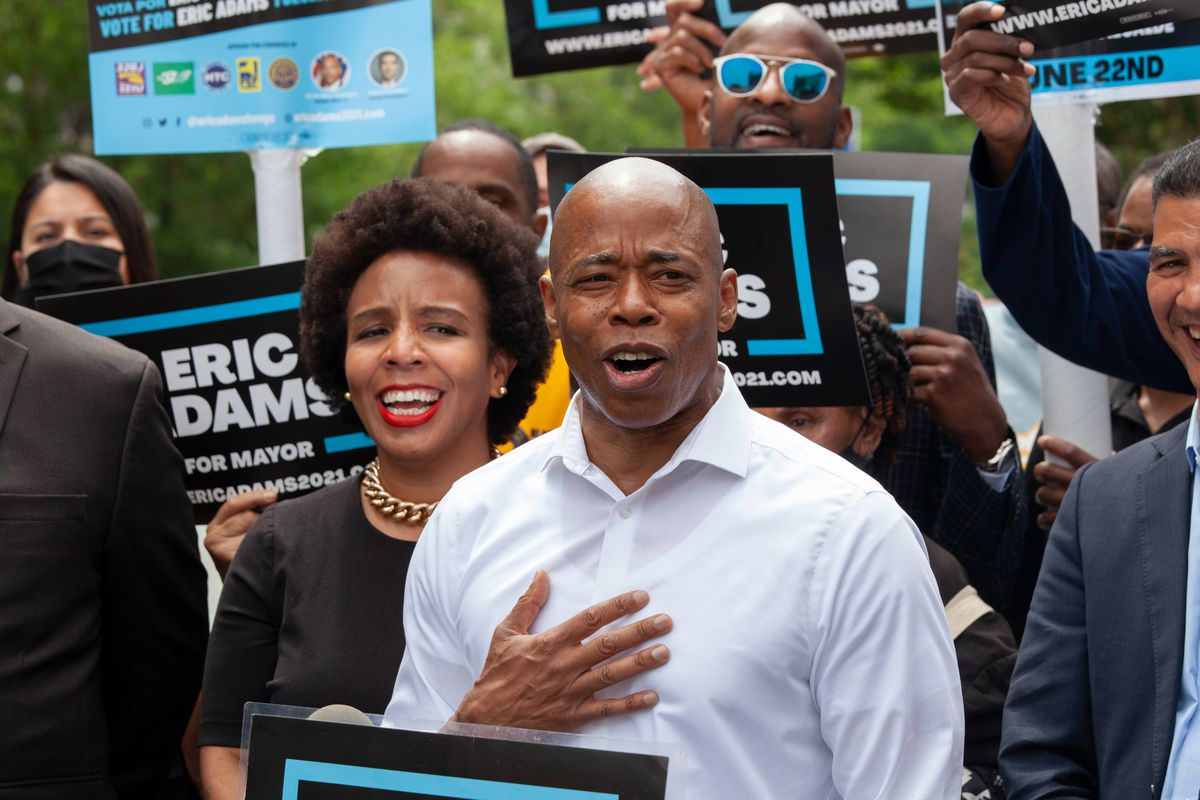 Mayoral candidate Eric Adams holds a rally outside Brooklyn Borough Hall, June 2, 2021.