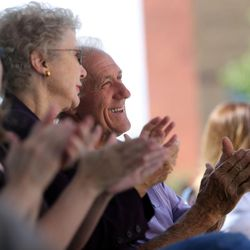 Attendees applaud during the ribbon-cutting ceremony for the new Tracy Hall Science Center at Weber State University in Ogden on Wednesday, Aug. 24, 2016.
