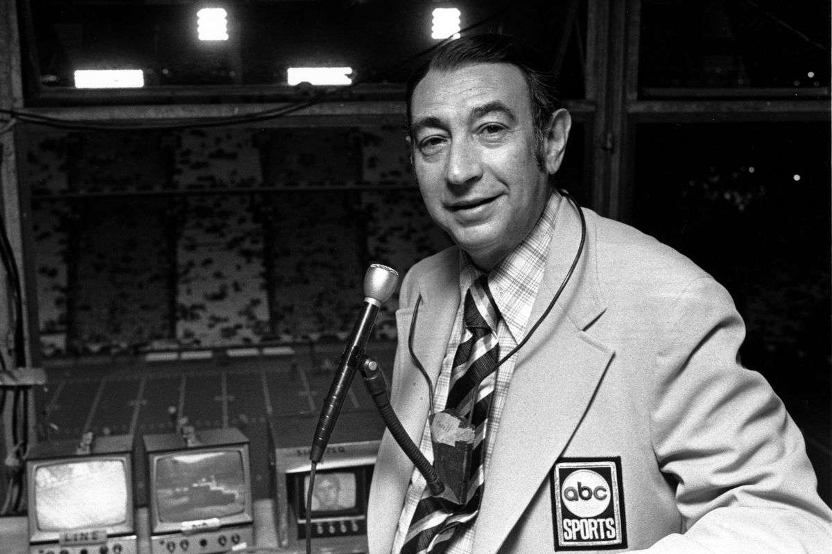 Television sports reporter Howard Cosell poses in the broadcast booth shortly before the Dallas Cowboys-New York Giants game in the Cotton Bowl in Dallas, on Monday, Oct. 12, 1971.