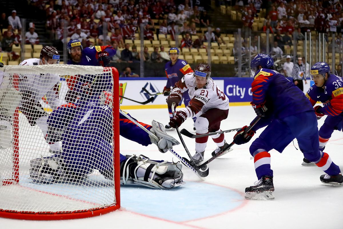 HERNING, DENMARK - MAY 08: Rudofs Balcers #21 of Latvia fails to score the 6th goal during the 2018 IIHF Ice Hockey World Championship group stage game between Korea and Latvia at Jyske Bank Boxen on May 8, 2018 in Herning, Denmark.