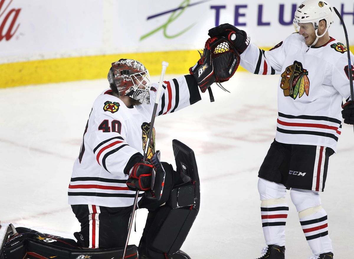 Robin Lehner finished his Blackhawks tenure with 16 wins, with his final one coming in Calgary.