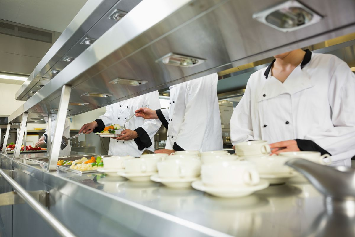 Stock photograph of restaurant kitchen staff