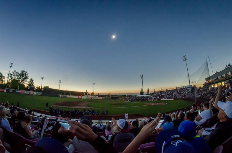 A panoramic shot of the total solar eclipse as seen from Volcanoes Stadium