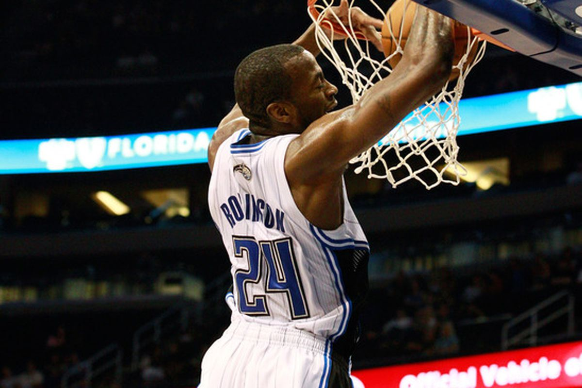 Stanley Robinson, #24 of the Orlando Magic, dunks during a game against the New Orleans Hornets.