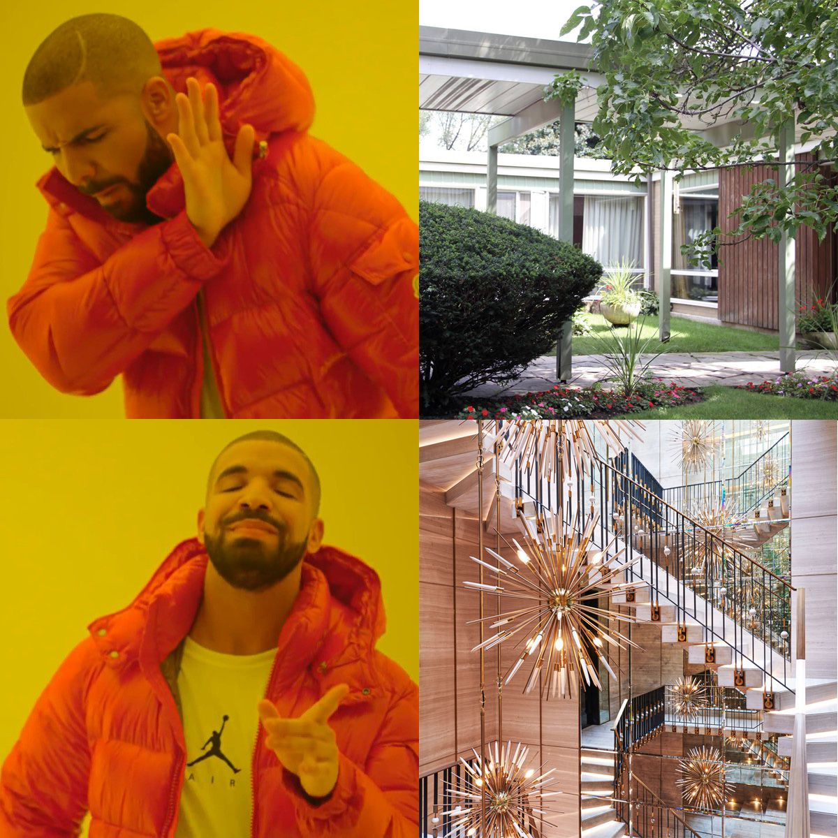 A collage of four photos: two with a man in an orange jacket, one with an exterior of a house pictured, another with an interior that has a winding staircase and spiked chandeliers.
