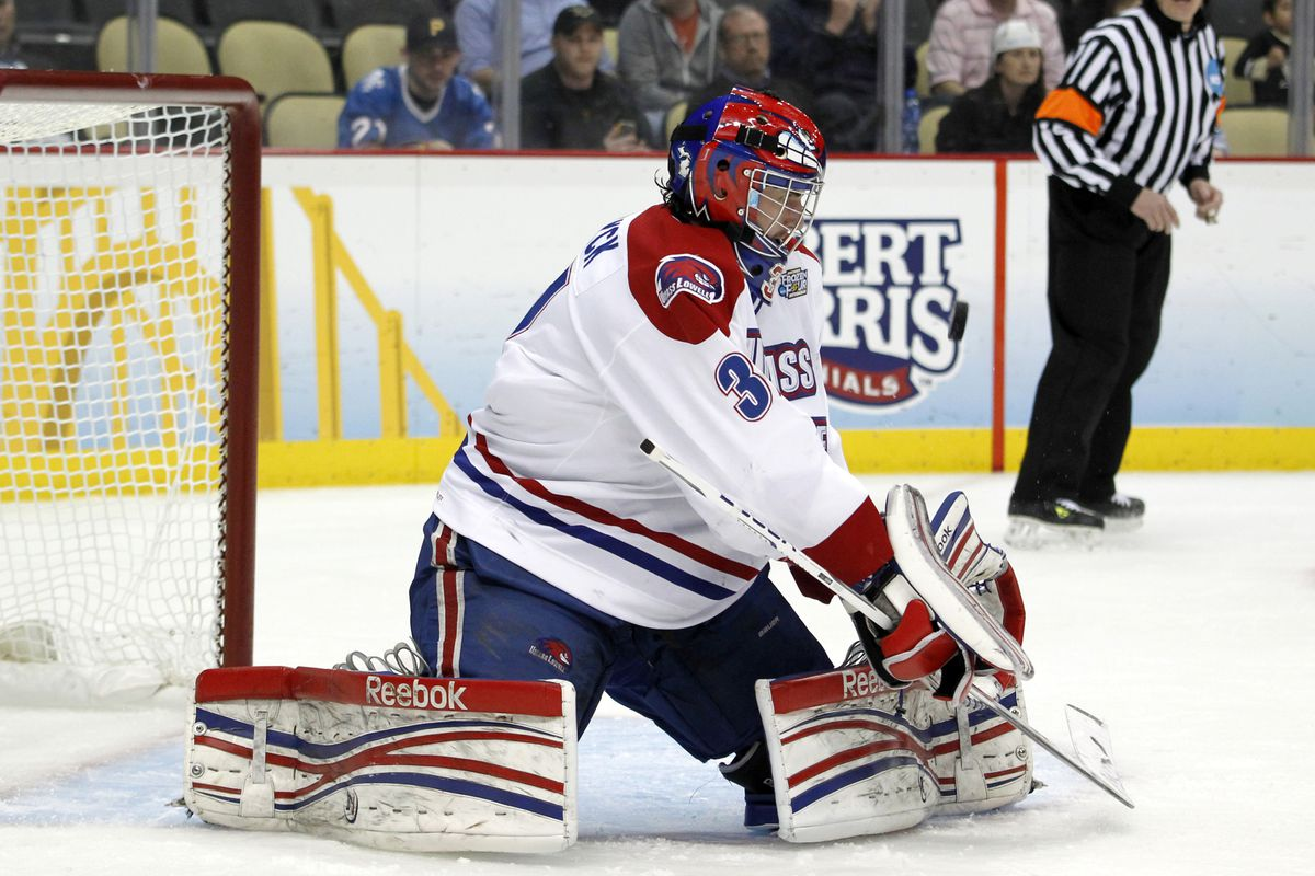 UMass-Lowell goaltender Connor Hellebuyck (Winnipeg Jets) is one of many collegians attending NHL Development Camps this summer.