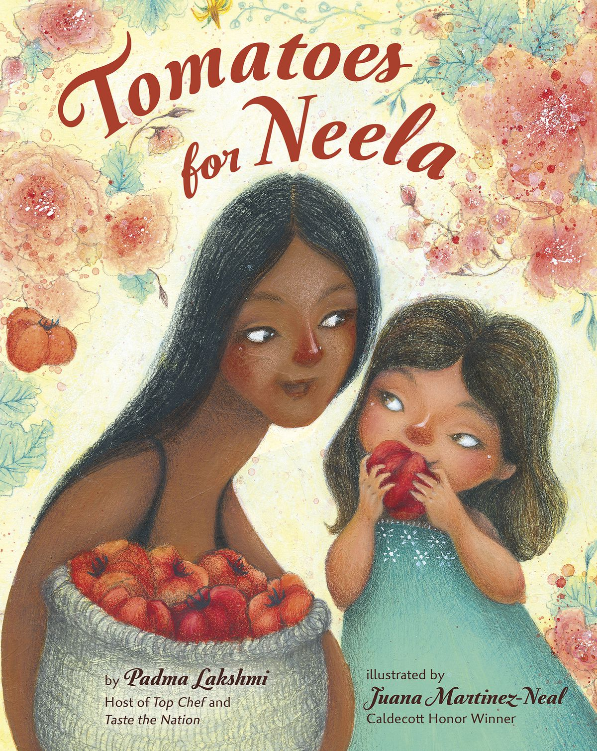 """This cover image released by Viking Books for Young Readers shows """"Tomatoes for Neela,"""" a children's book written by Padma Lakshmi, with illustrations by Juana Martinez-Neal. The book mixes the author's memories of cooking with her family with practical food advice, a nod to farmworkers and even a pair of recipes."""