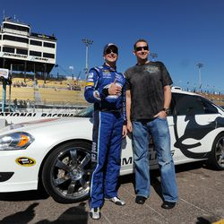 Webb meets Kurt Busch, driver of the #2 Miller Lite Dodge, after practice for the NASCAR Sprint Cup Series Checker O'Reilly Auto Parts 500 at Phoenix International Raceway on November 8, 2008 in Avondale.