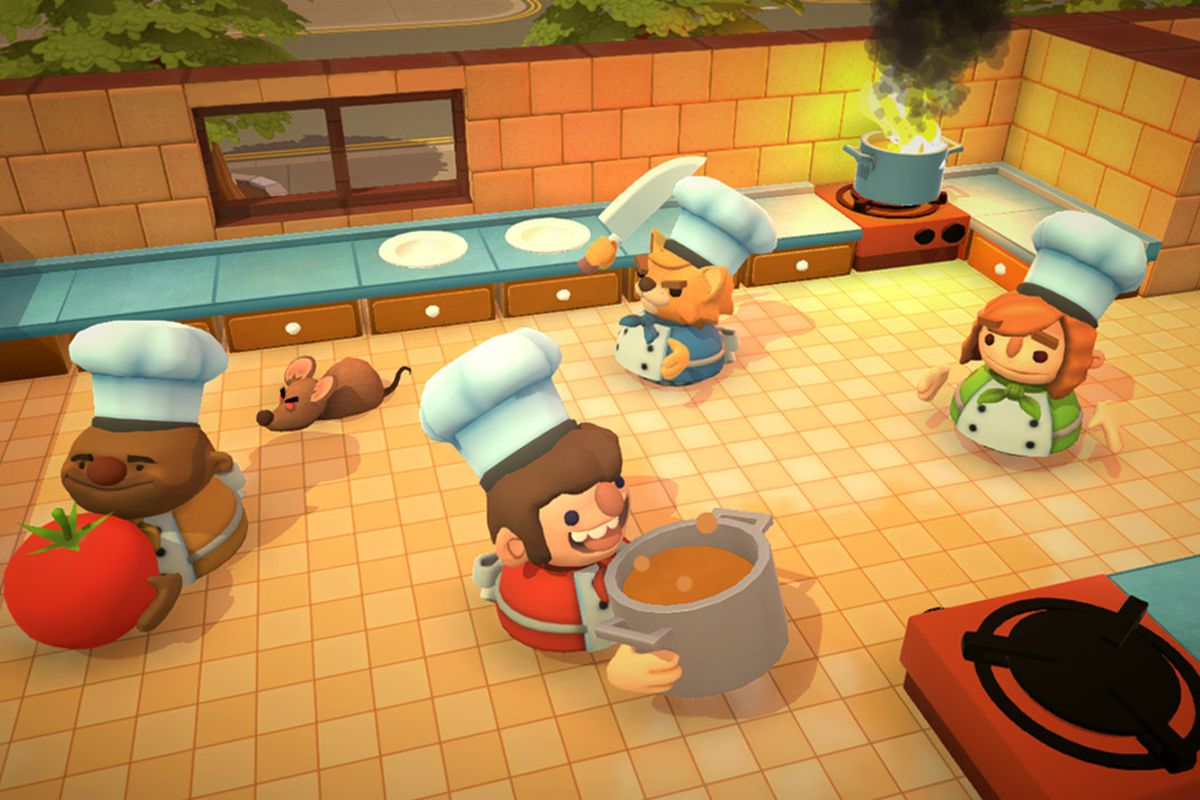 Cooks in Overcooked rushing around a kitchen