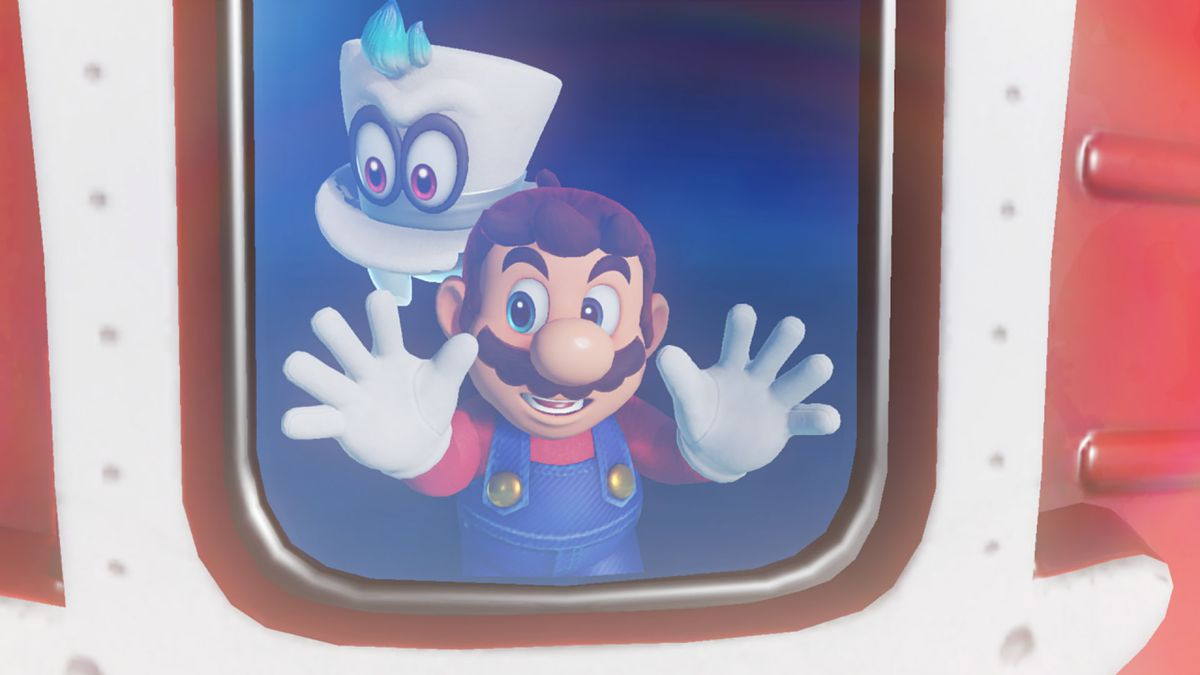 Super Mario Odyssey - Mario and Cappy looking out of a window on the good ship Odyssey