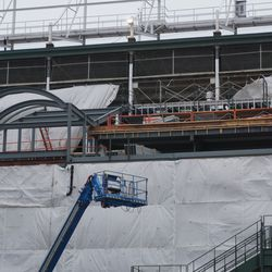 Upper deck construction, above the Gallagher Way entrance