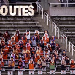 Cardboard cutouts occupy the stands during the game between the Utah Utes and the USC Trojans at Rice-Eccles Stadium in Salt Lake City on Saturday, Nov. 21, 2020.