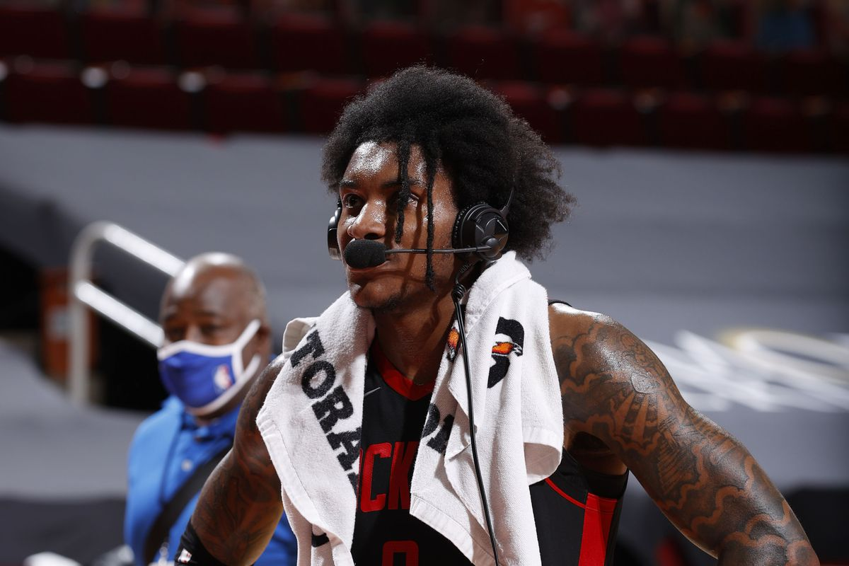 Kevin Porter Jr. of the Houston Rockets interviews after the game against the Milwaukee Bucks on April 29, 2021 at the Toyota Center in Houston, Texas.