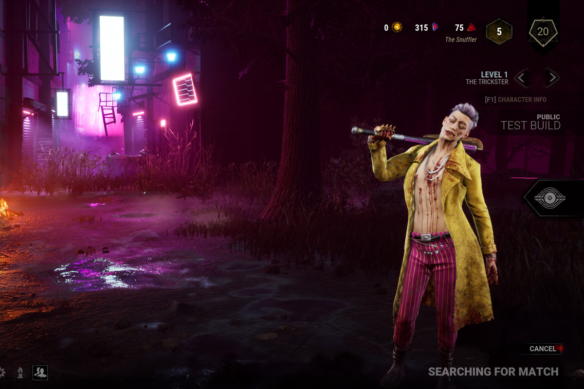 Dead By Daylight - the Trickster, a handsome young Korean man in a bright yellow jacket over a bare chest and pink pants, poses with a bat over his shoulder.