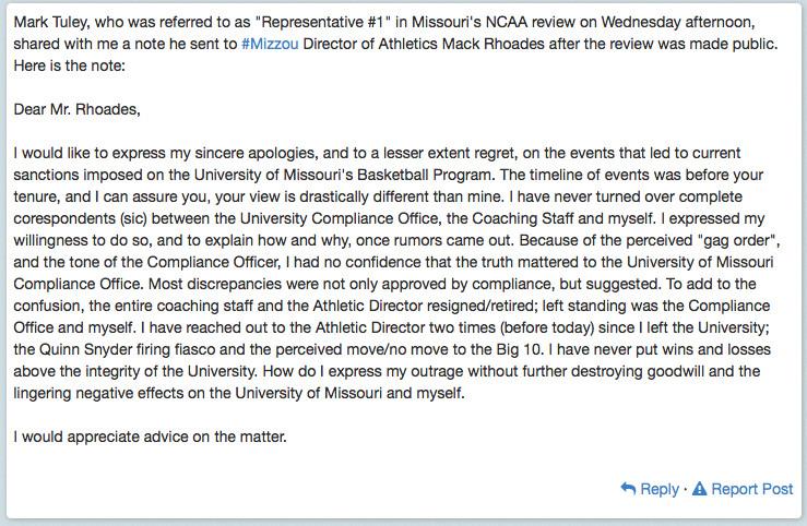 Tuley Statement to Mack Rhoades