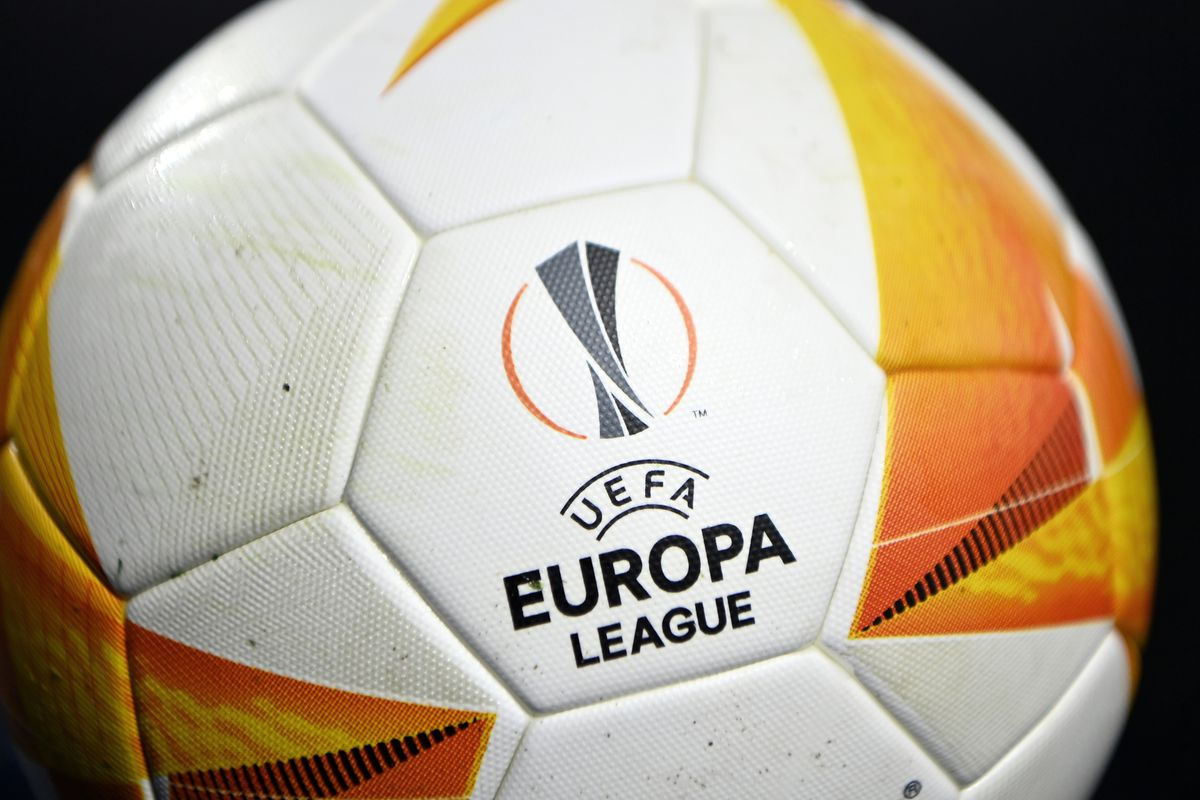 A detailed view of the UEFA Europa League logo is seen on the Molten match ball prior to the UEFA Europa League Round of 32 match between Leicester City and Slavia Praha at The King Power Stadium on February 25, 2021 in Leicester, England.