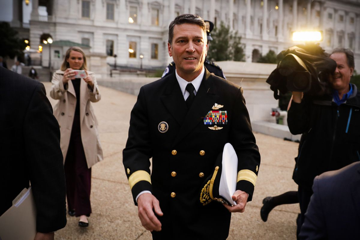 Nominee no more, Dr. Ronny Jackson departs the US Capitol on April 25, 2018.