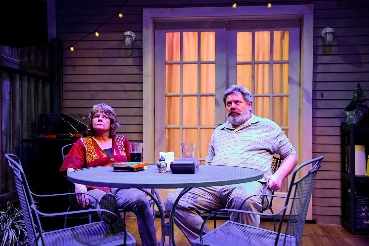 "Linda Reiter and H.B. Ward star as Jennifer and Bob Jones in Shattered Globe Theatre's ""The Realistic Joneses.""   Evan Hanover"