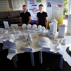Sculptors Mark Revels, left, and Brendan Jamison, right, pose for a photo at Intermountain Medical Center in Murray on Monday, July 18, 2016. They displayed their sugar cube sculptures that map iconic buildings across the country to raise awareness on how to manage sugar intake for a healthy lifestyle.