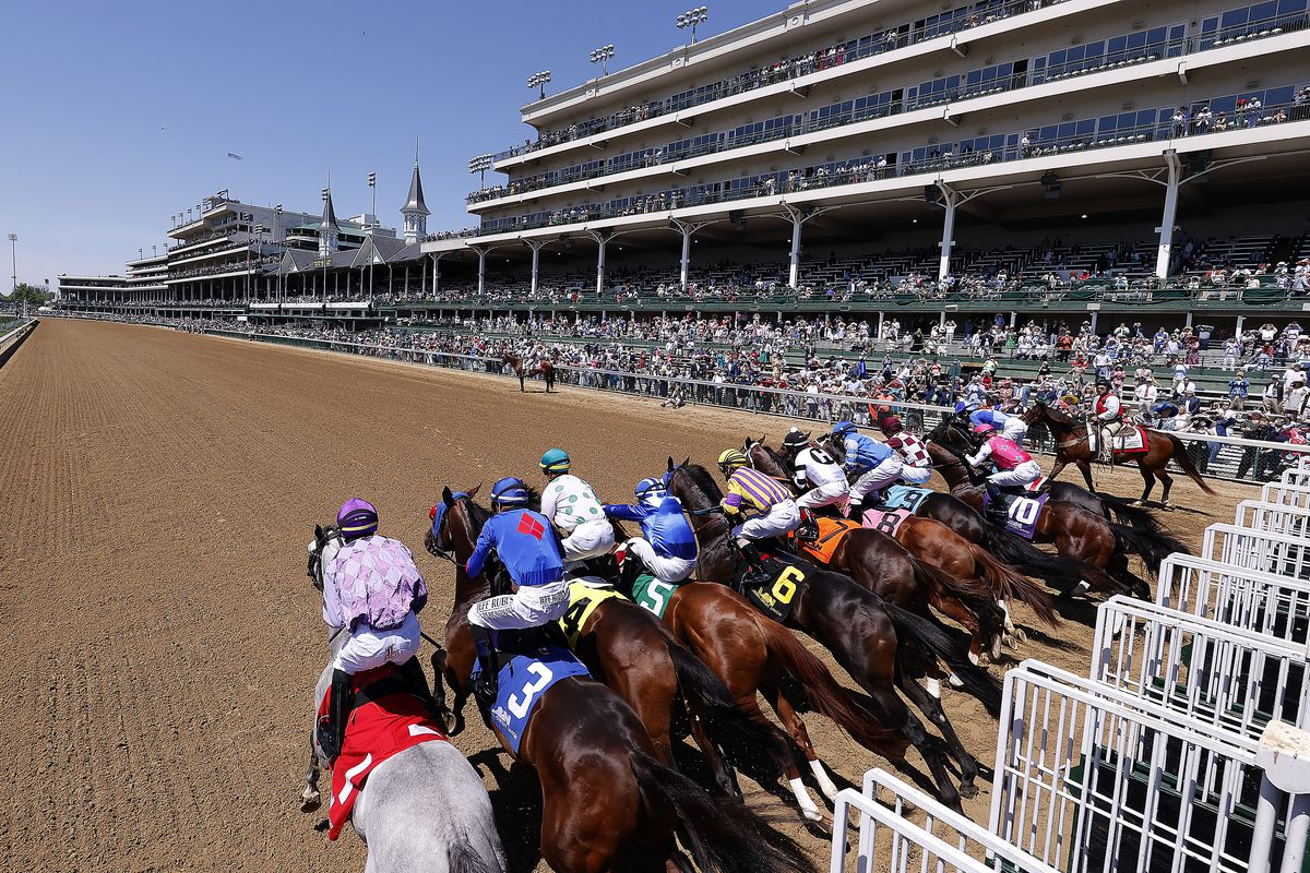 Horses break from the gate at the start of the I'll Have Another, Race 5 ahead of the 147th Running of the Kentucky Derby, at Churchill Downs on May 01, 2021 in Louisville, Kentucky.