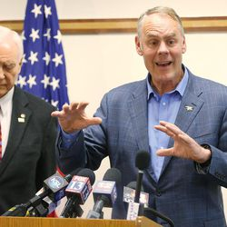 Secretary of the Interior Ryan Zinke speaks to the media along with Sen. Orrin Hatch, R-Utah, during a listening tour of Utah monuments in Salt Lake City on Sunday, May 7, 2017.