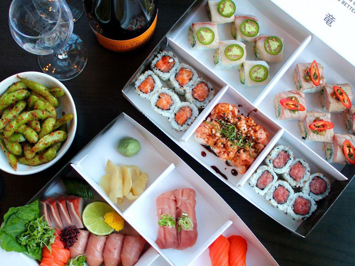 edamame, sushi, and champagne