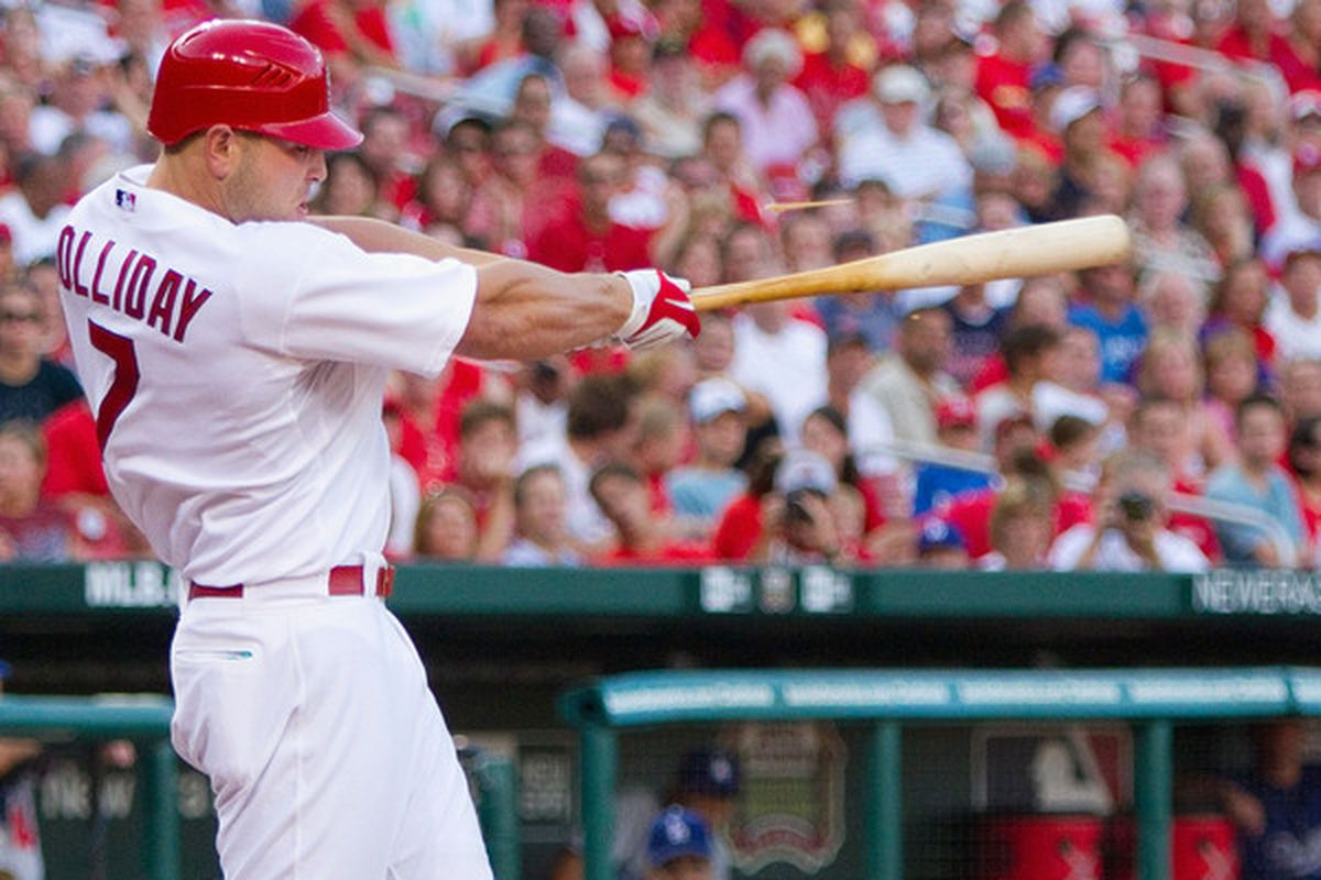 ST. LOUIS - JULY 15: Matt Holliday #7 of the St. Louis Cardinals collects a hit against the Los Angeles Dodgers at Busch Stadium on July 15 2010 in St. Louis Missouri.  The Cardinals beat the Dodgers 7-1.  (Photo by Dilip Vishwanat/Getty Images)