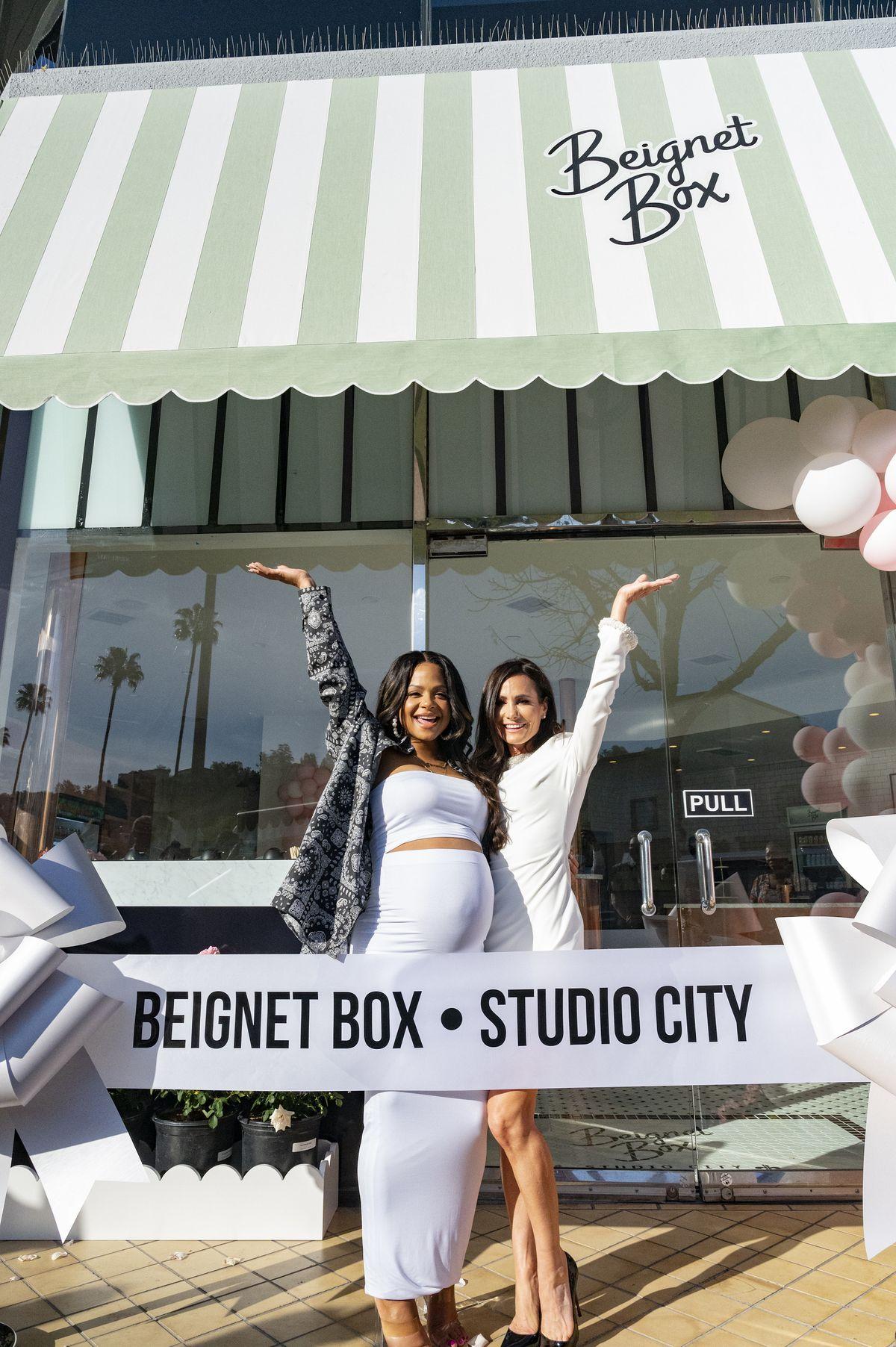 Beignet Box owners Christina Milian and Elizabeth Morris in Studio City, California.