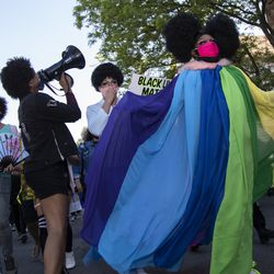 """Drag queens, activists and allies lead the """"Drag March for Change"""" on Halsted Street in Lakeview, Chicago, Sunday, June 14, 2020. Black drag community leaders led a protest march in support of Black Lives Matter and to demand justice for victims of police brutality."""