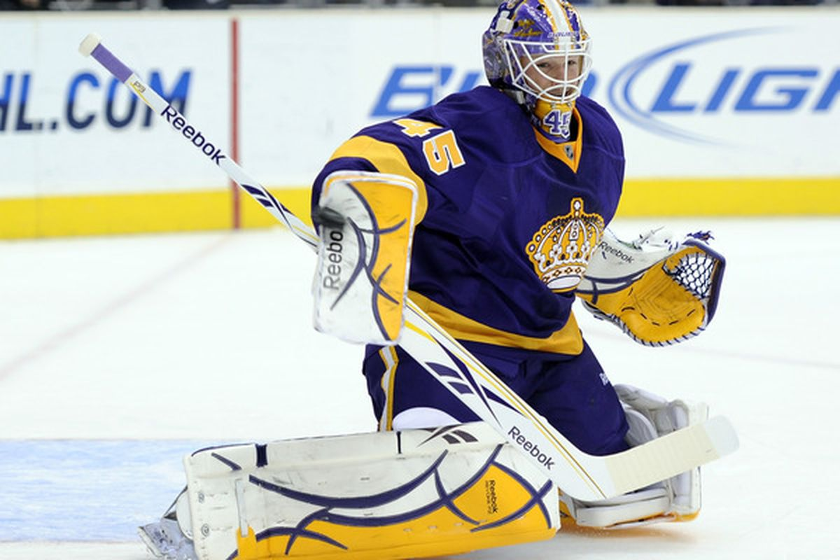 Ryan Miller is wondering why those pads look so familiar..  (Photo by Harry How/Getty Images)
