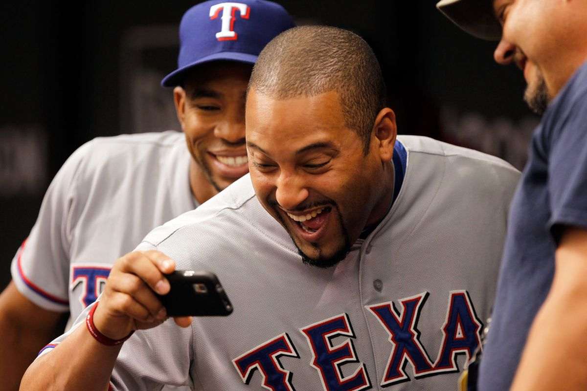 """YOU could be this happy if you follow <strong><a href=""""https://twitter.com/#!/mlbdailydish"""" target=""""new"""">@MLBDailyDish</a></strong> on twitter!"""
