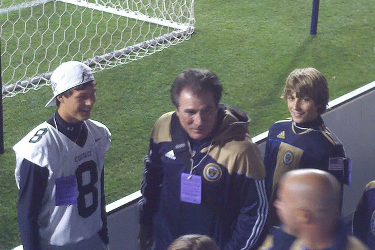 Vince Papale in front of the River End after the Philadelphia Union's 1-0 win over the Columbus Crew. (Photo by Scott Kessler)