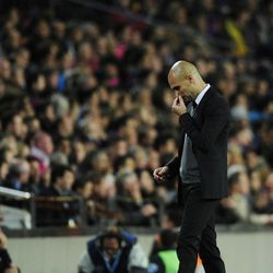 FC Barcelona's coach Pep Guardiola, reacts against Chelsea during a semifinal second leg Champions League soccer match at the Camp Nou stadium in Barcelona, Spain, Tuesday, April 24, 2012. Chelsea drew 2-2 with Barcelona to win the match 3-2 on aggregate.