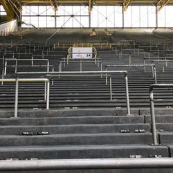 Dortmund's legendary Yellow Wall viewed from the bottom. The noise from this section of the stadium, when 25,000 people chant in unison, is deafening. August 2, 2019.