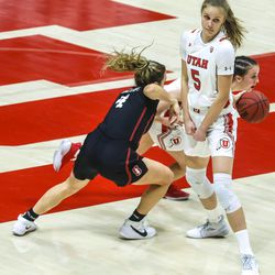 Utah Utes forward Zuzanna Puc (5) tries to get out of the way of her teammate during a women's basketball game at the Huntsman Center in Salt Lake City on Friday, Jan. 15, 2021.