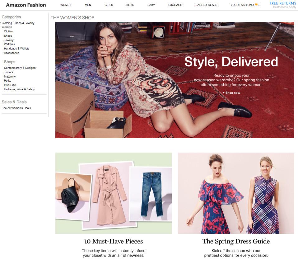 29247c51e8aaee Amazon Fashion s women s landing page.