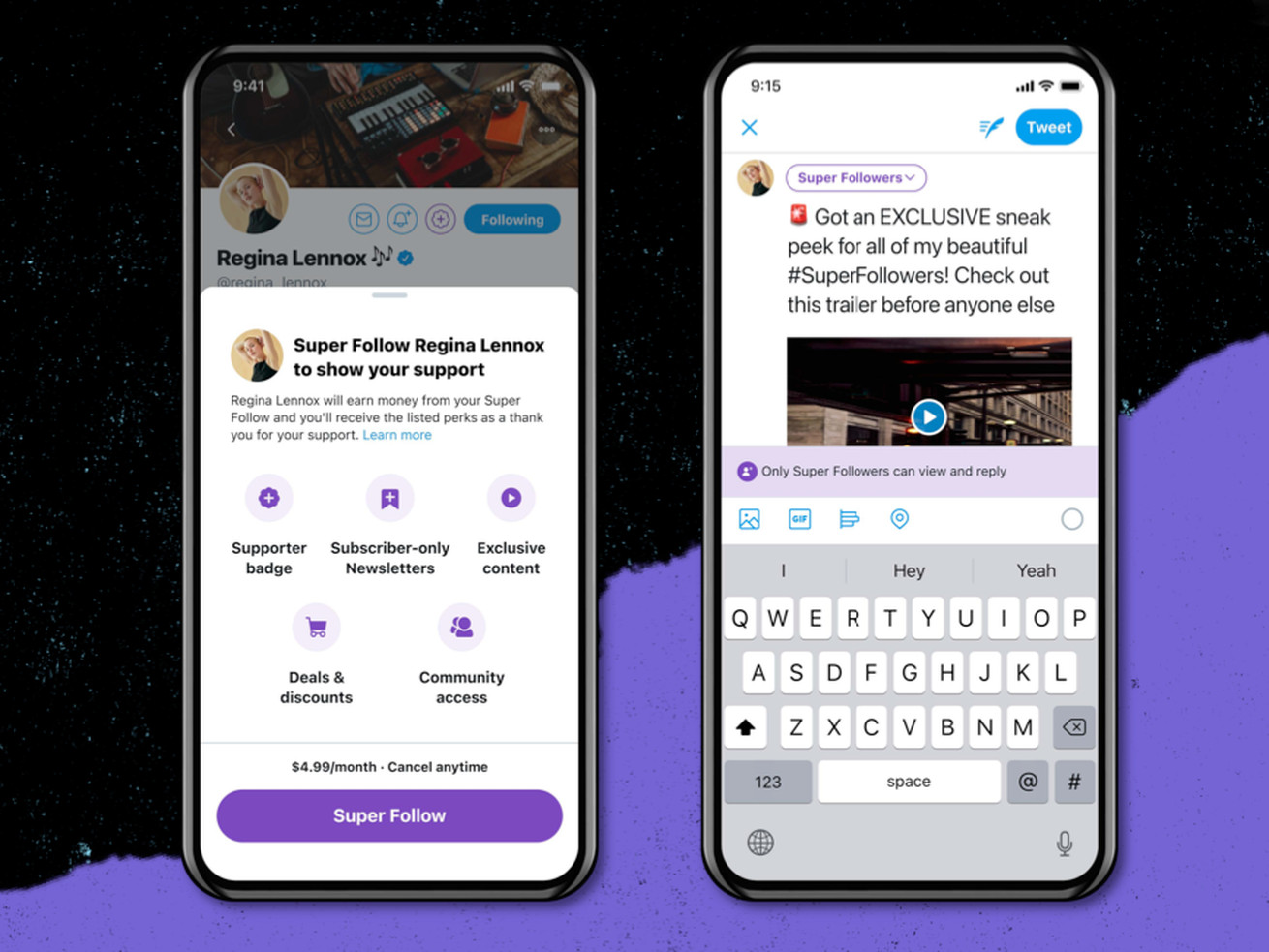 Two phone screens showing the Twitter super follows feature.