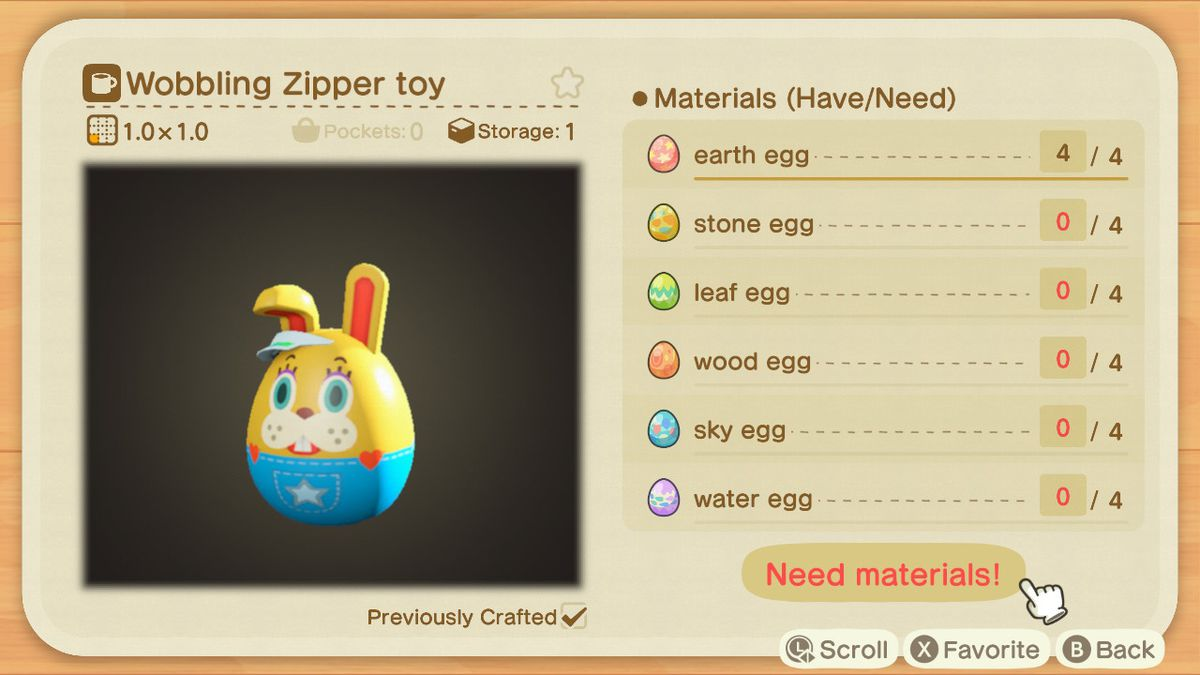 A crafting screen in Animal Crossing showing how to make Wobbling Zipper Toy