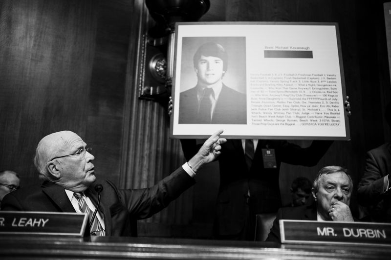 Democratic Senator Patrick Leahy points to a page from Brett Kavanaugh's high school yearbook during Thursday's hearing