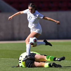 Skyline and Bonneville play in 5A girls soccer state semifinal action at Rio Tinto Stadium in Sandy, Utah, on Tuesday, Oct. 20, 2020.
