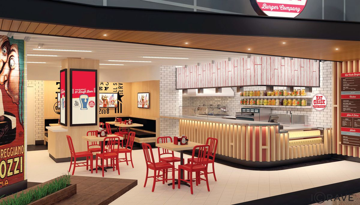 Rendering of Hat Creek Burger Co.'s airport location