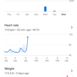"After syncing, the words ""Mi Fit"" appear next to your Google Fit data."