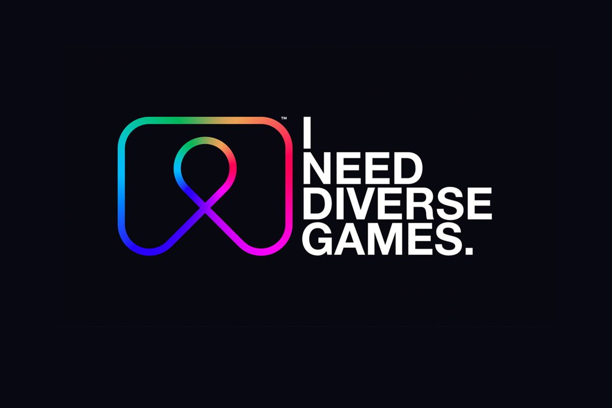 """Text reads, """"I Need Diverse Games"""" in white on a black background. To the left of the text is the INDG logo, an abstract outline of a video game controller in rainbow colors."""