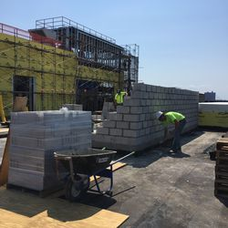 Workers start on HSS Center Rooftop Lounge