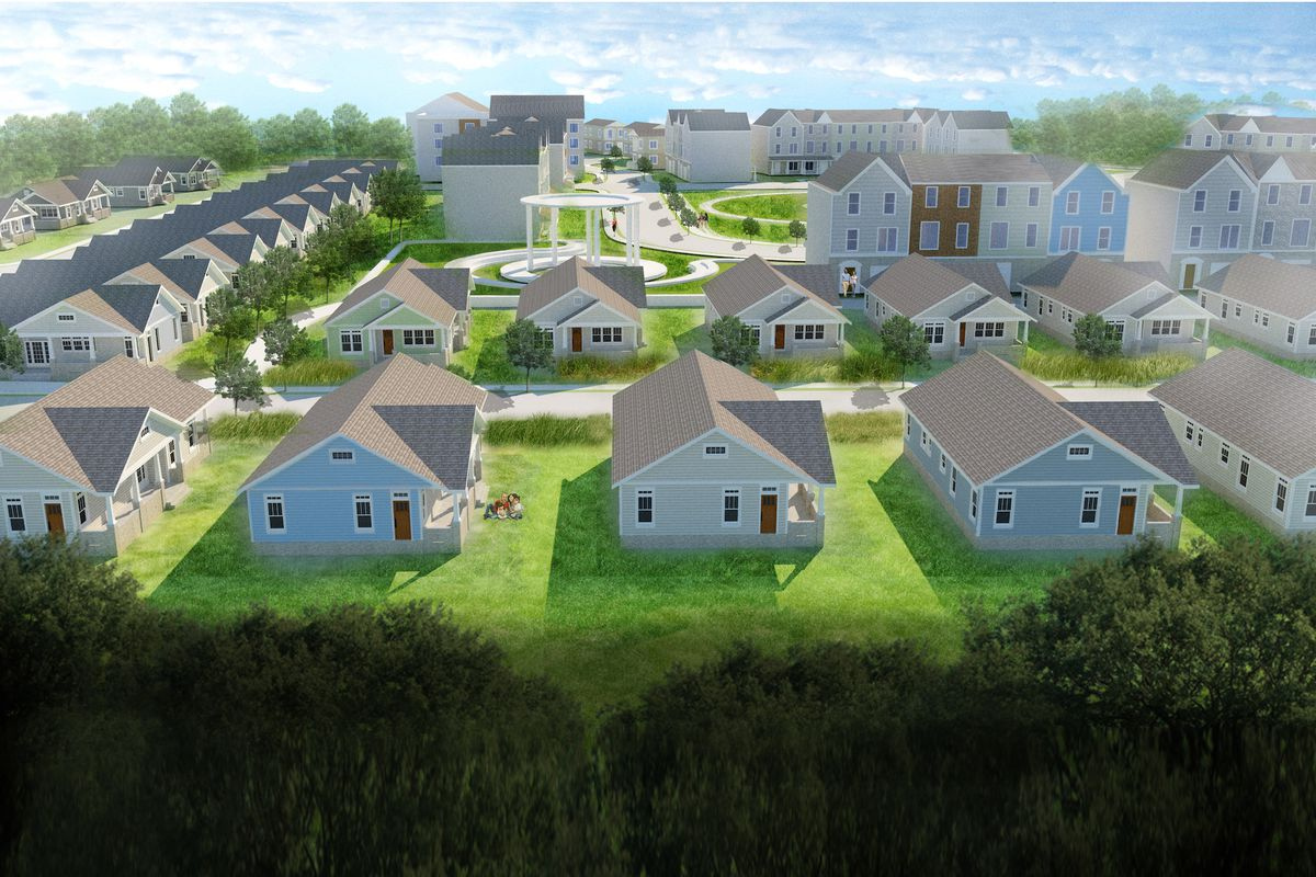 Rendering of neighborhood with rows of white houses.