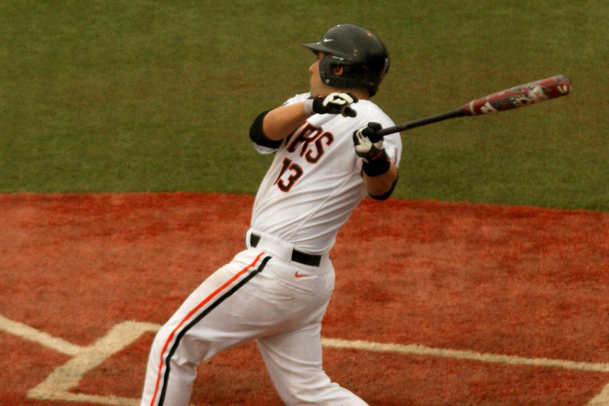 Jake Rodriguez had a good day going 3 for 4 with two RBIs, pictured here against Bryant.