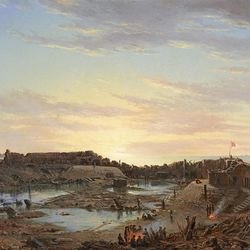 """""""Fort Sumter, Interior, Sunrise, Dec. 9, 1863"""" was created by artist Conrad Wise Chapman as part of a 31-work series for Confederate Gen. P. G. T. Beauregard during the Civil War."""