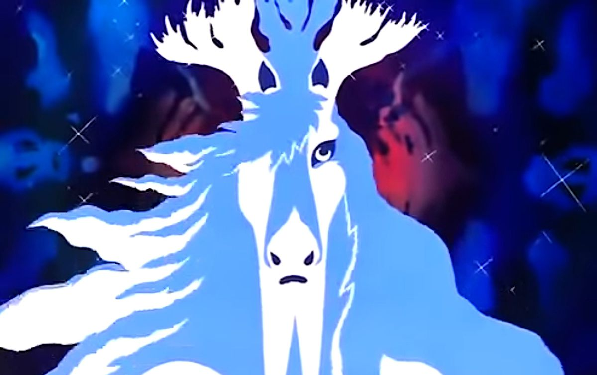A stylized white horse in Son of the White Mare
