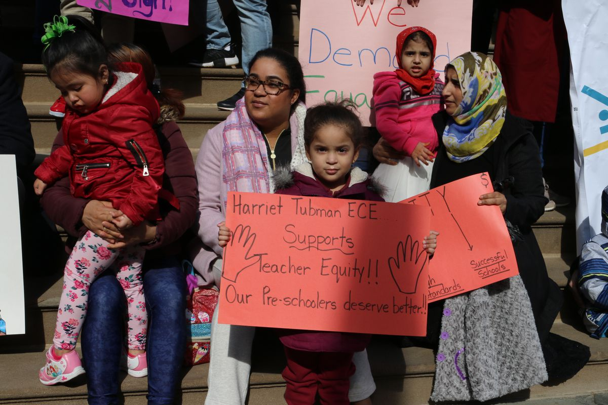 Pre-K teachers rallied at City Hall to demand that educators in community organizations are paid equally to education department teachers on March 20, 2019.
